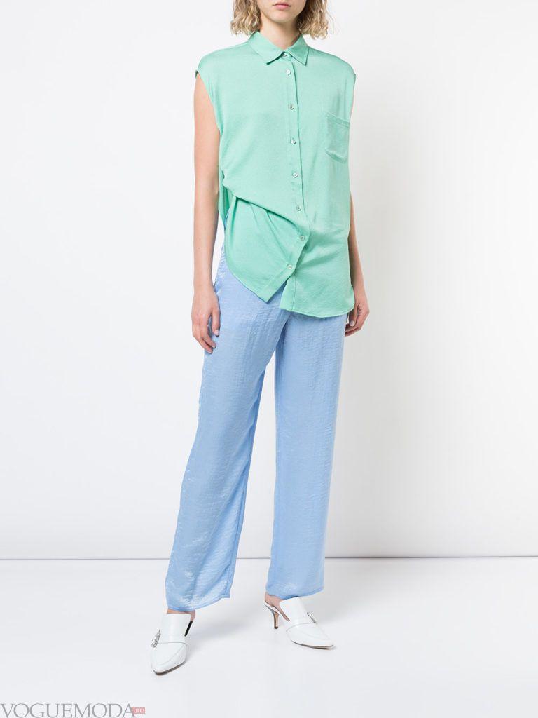 голубые брюки и бирюзовая блузка лето