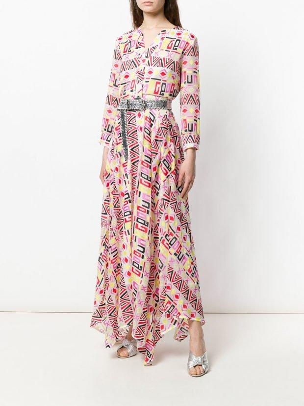 платье макси с принтом лето
