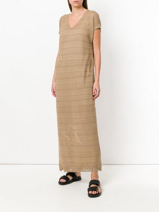 бежевое платье макси лето