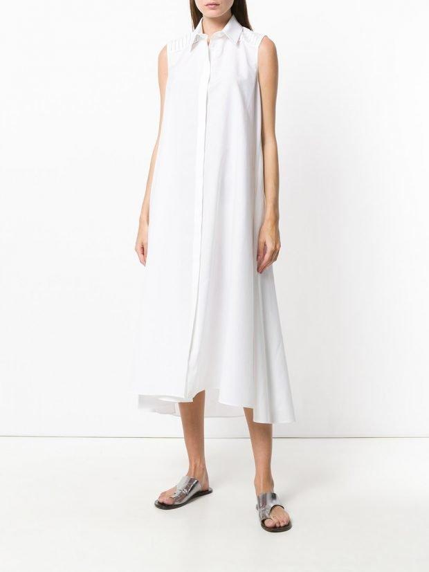 белое платье рубашка лето