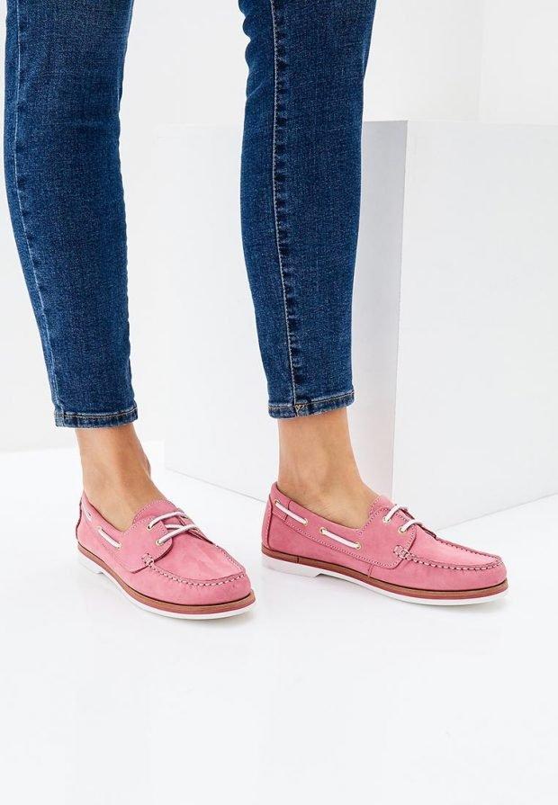 розовые топсайдеры со шнуровкой