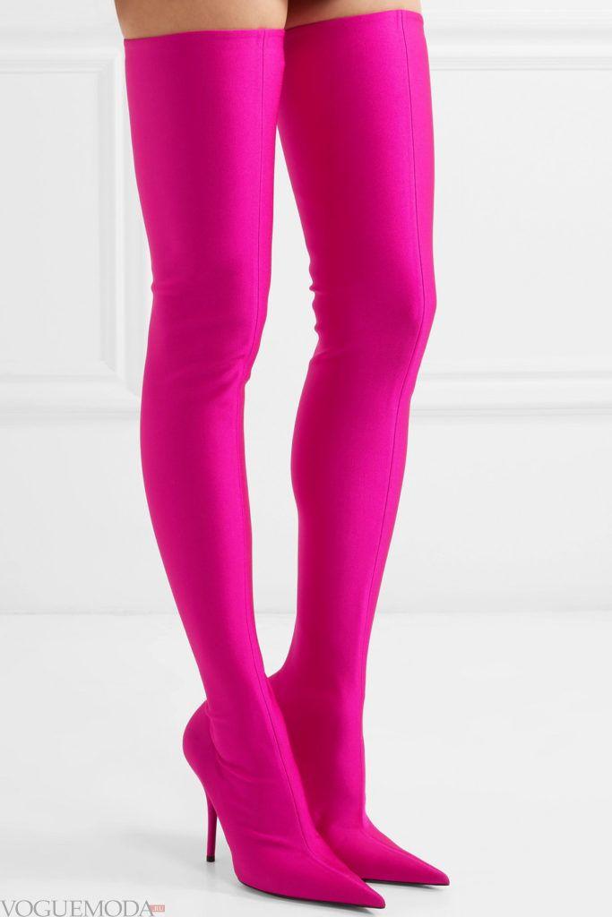 розовые ботфорты-чулки