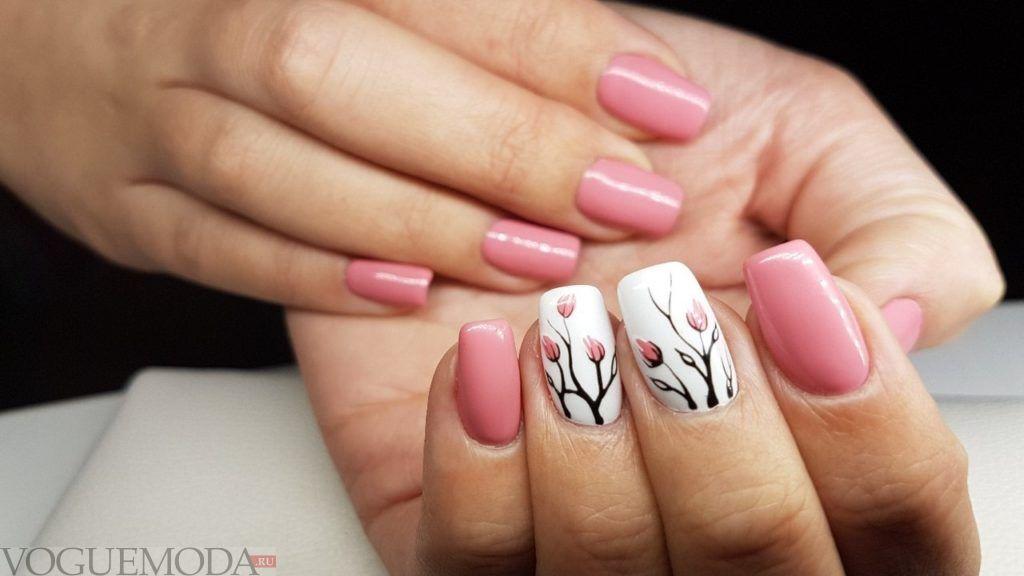 розовые ногти с рисунком