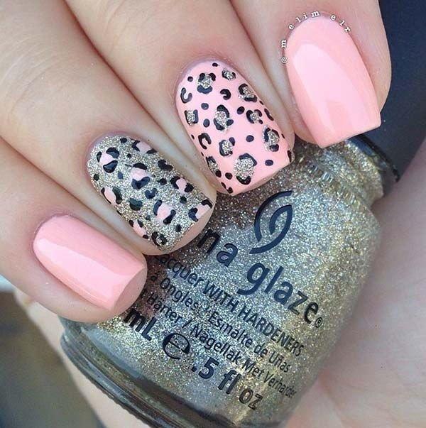 пудровые ногти с леопардовым принтом