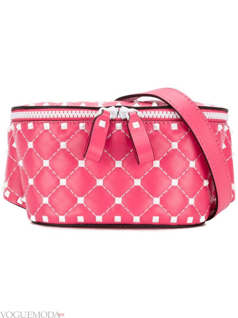 розовая фактурная сумка на пояс