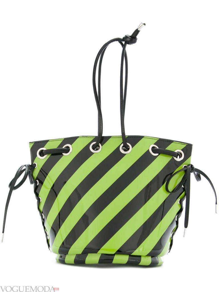 полосатая сумка со шнуровками