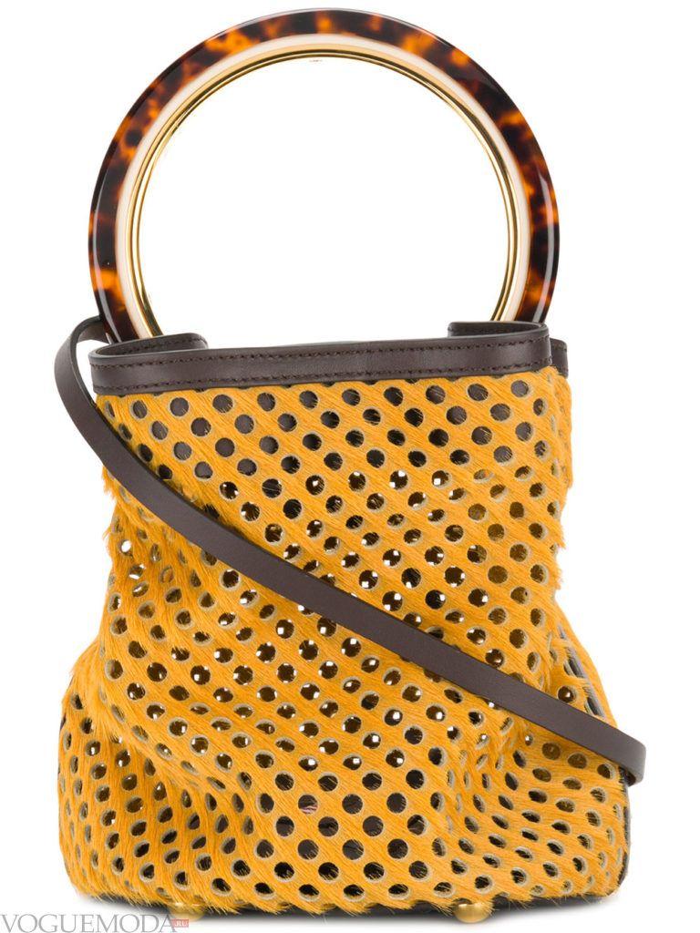 желтая фактурная сумка ведро