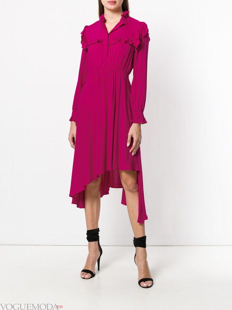 Модные цвета лето 2020: асимметричное платье фуксия