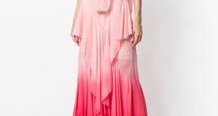 розовое градиентное макси платье