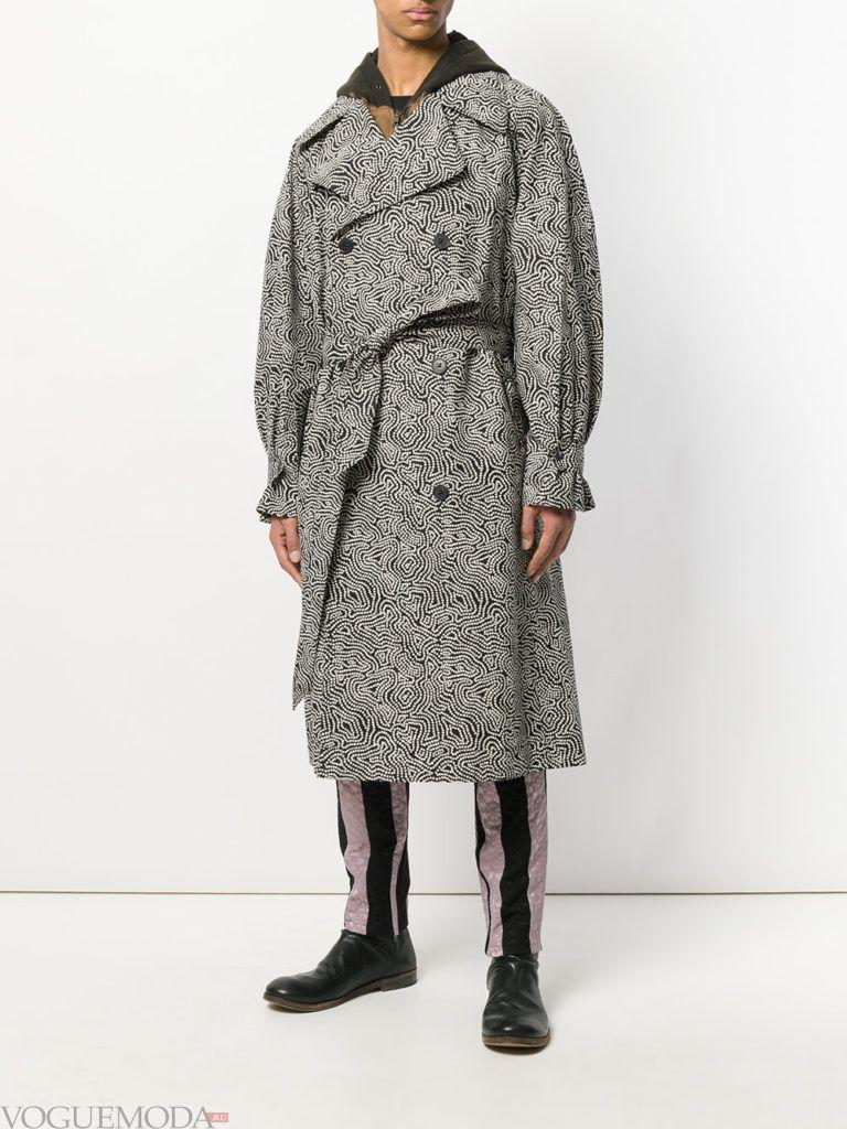 серое мужское пальто весна