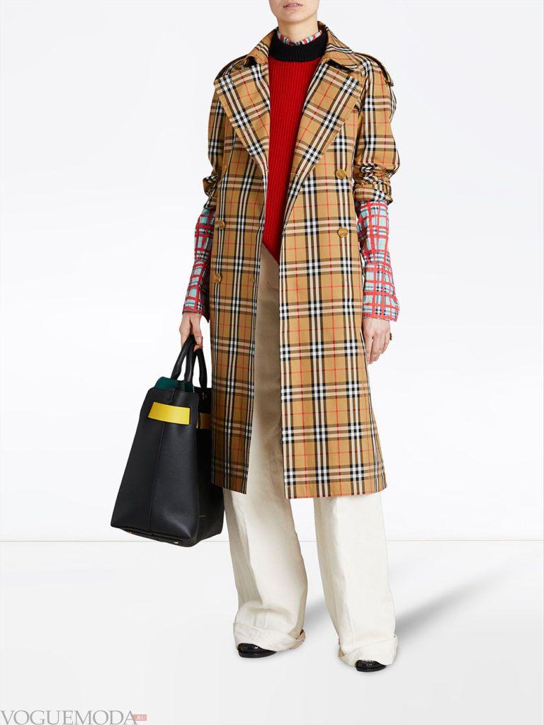 пальто в клетку с укороченными рукавами весна