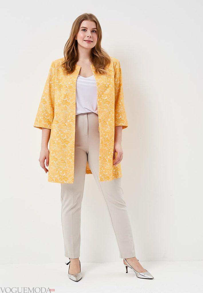 желтое пальто с короткими рукавами для полных весна