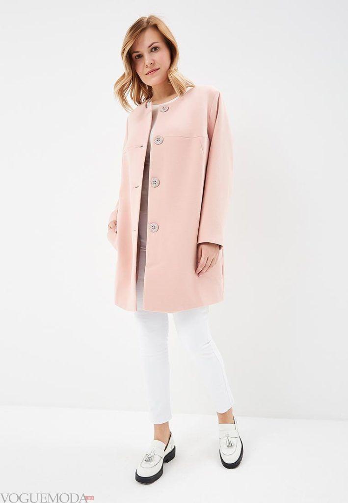 розовое пальто для полных весна