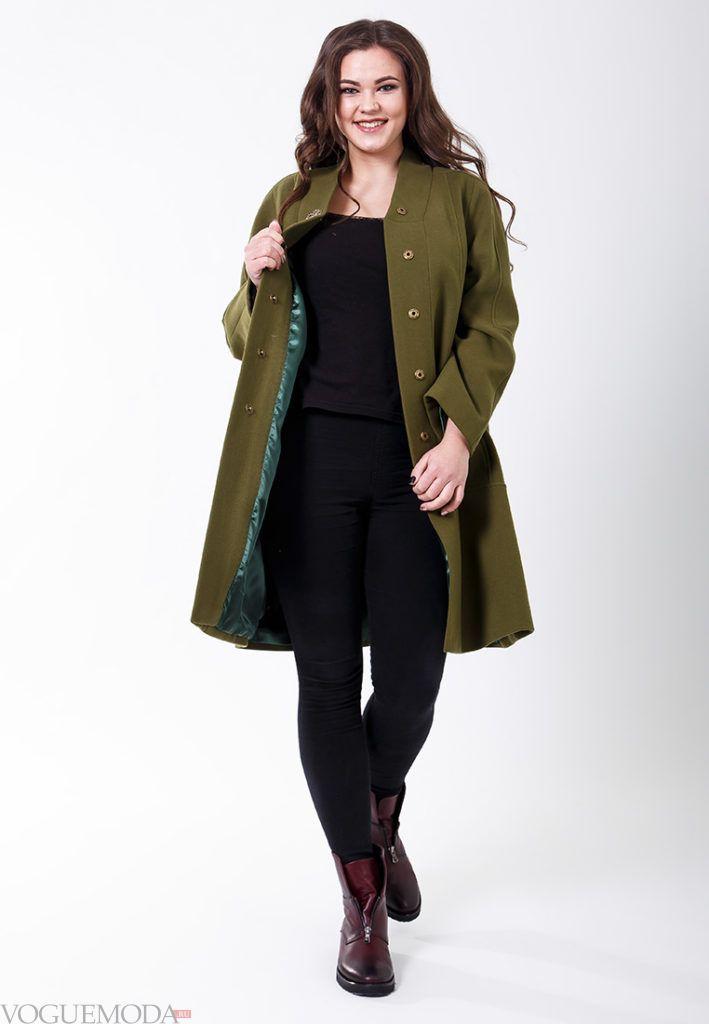 оливковое пальто для полных весна