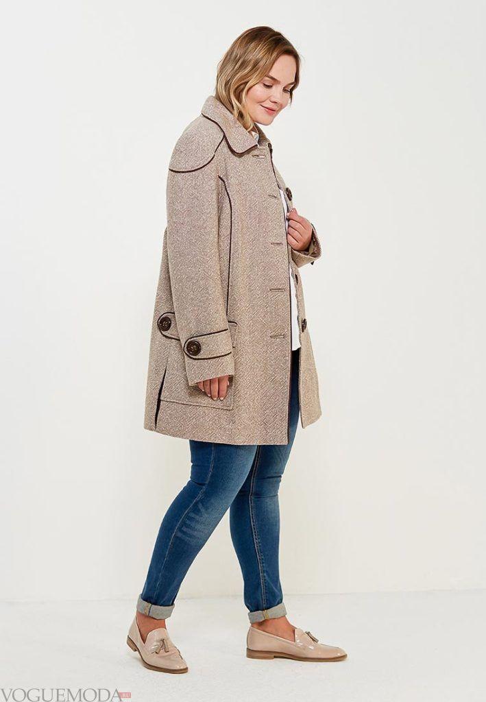 нюдовое короткое пальто для полных весна