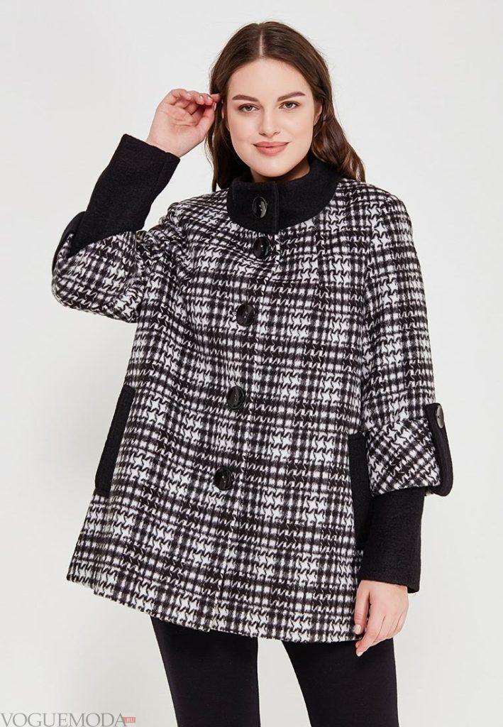 пальто с укороченным рукавом для полных весна