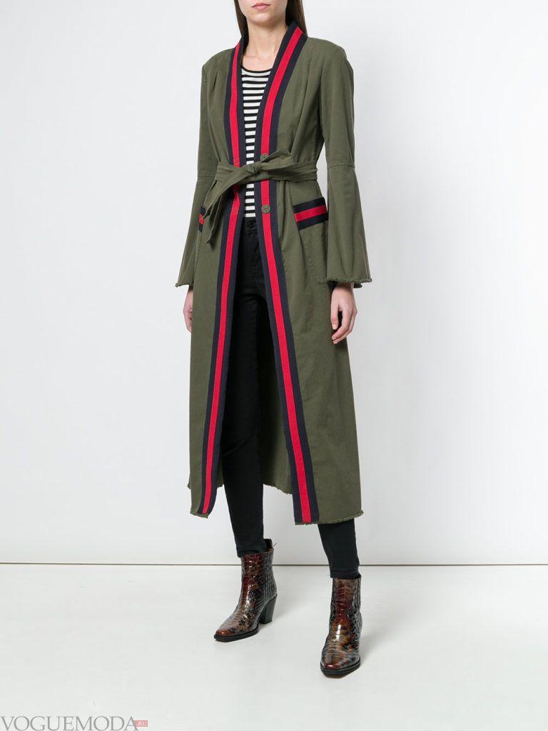 пальто куртка макси с поясом весна
