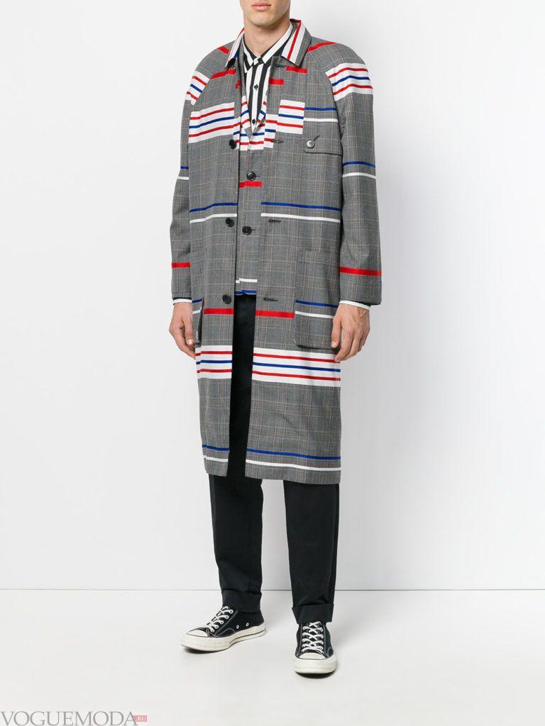 мужское пальто весна в полоску
