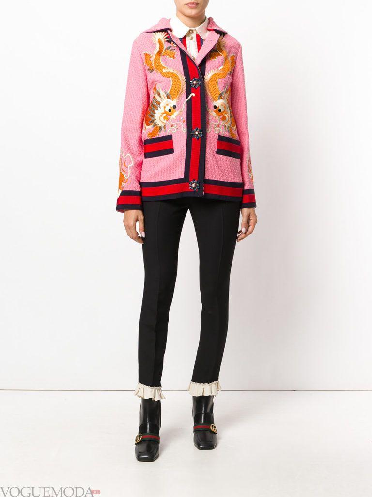 розовое короткое пальто куртка с декором весна