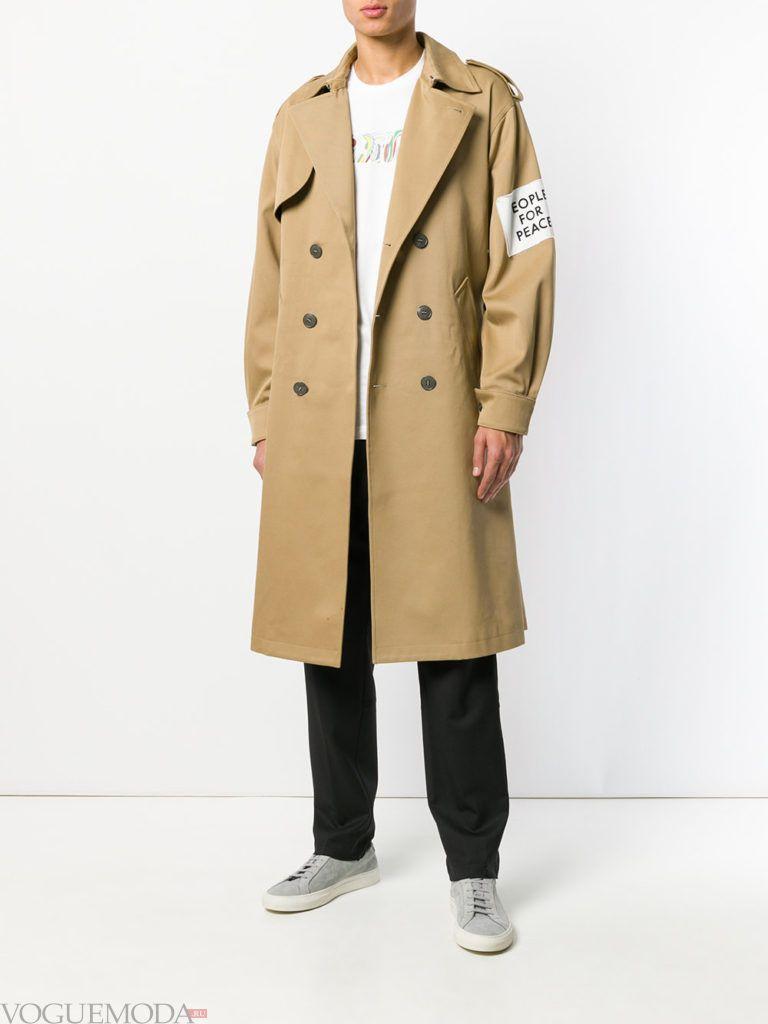 бежевое мужское пальто весна