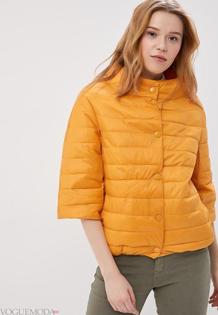 желтое короткое пальто на синтепоне весна