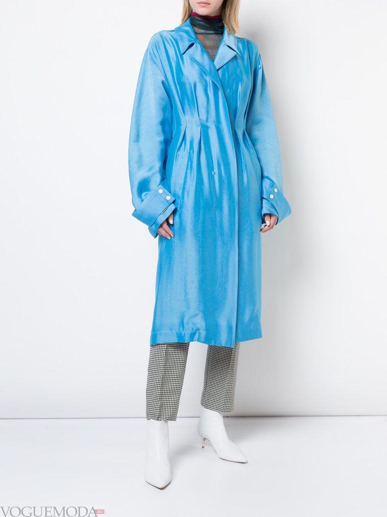 голубое болоньевое пальто миди весна