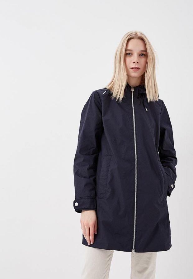 черное болоньевое пальто на молнии