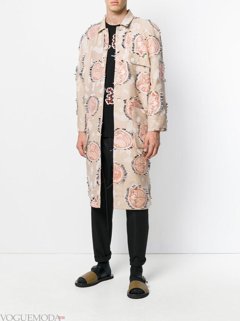 мужское пальто весна с принтом