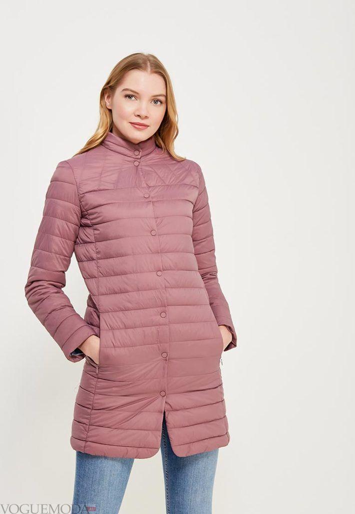 нюдовое пальто на синтепоне до колена весна