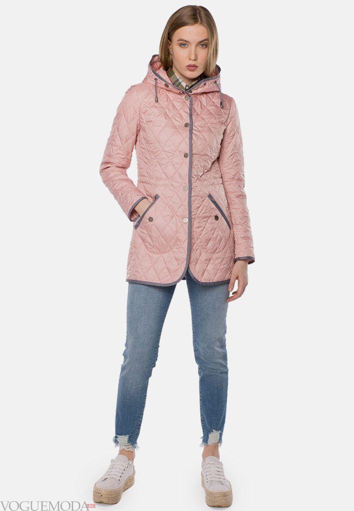 розовое пальто до колена на синтепоне весна