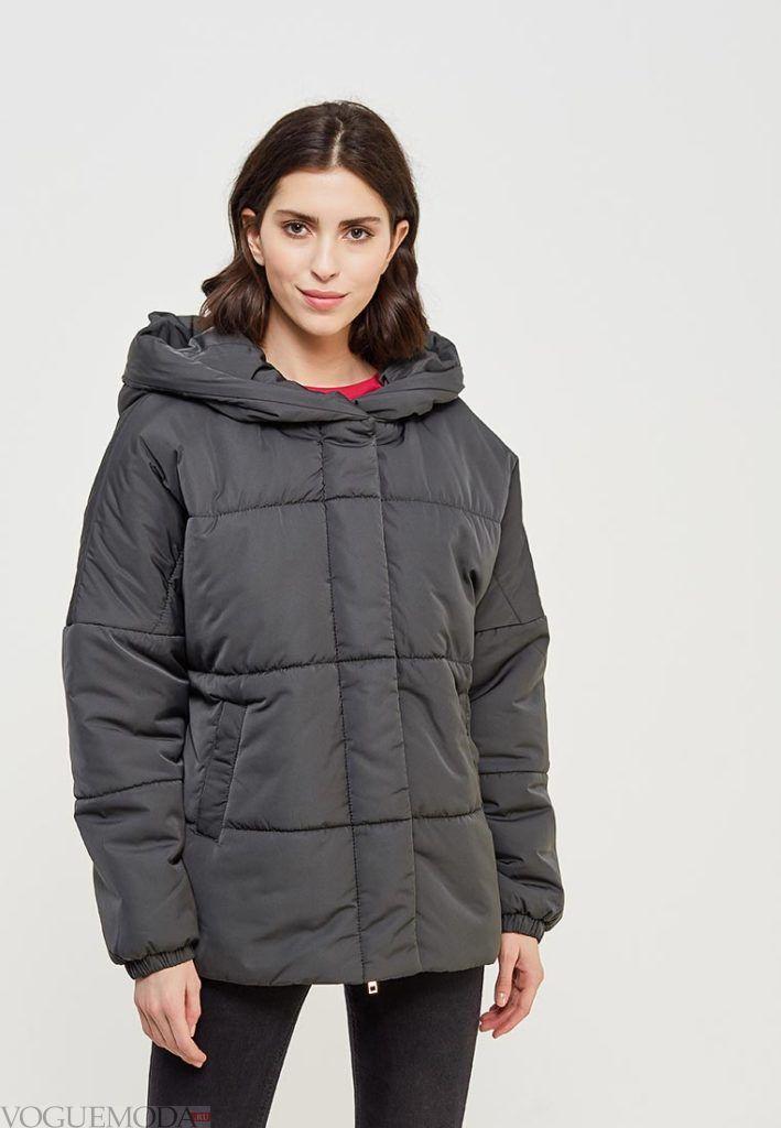 серое короткое пальто на синтепоне весна