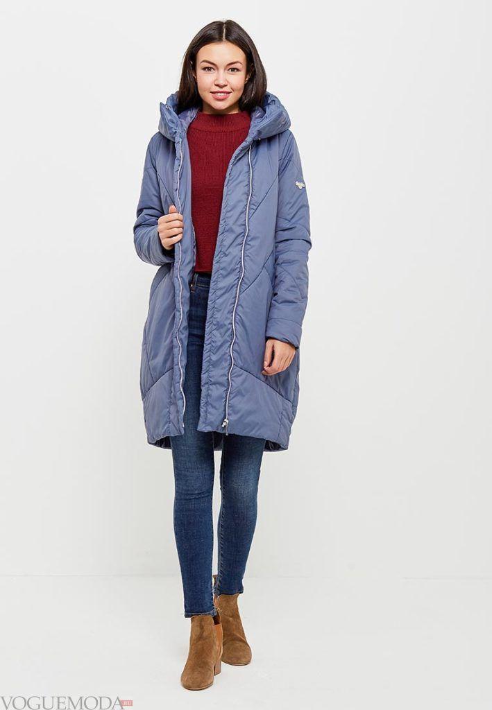 фиолетовое пальто миди на синтепоне весна