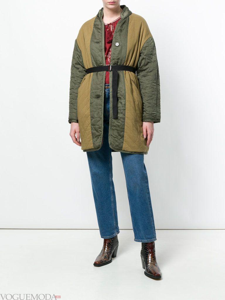 стеганое двухцветное пальто весна