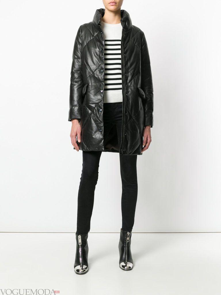 черное стеганое пальто до колена весна