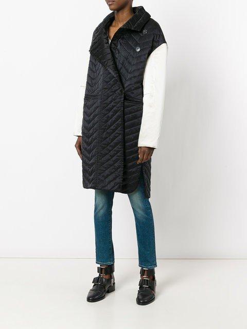 двухцветное стеганое пальто весна