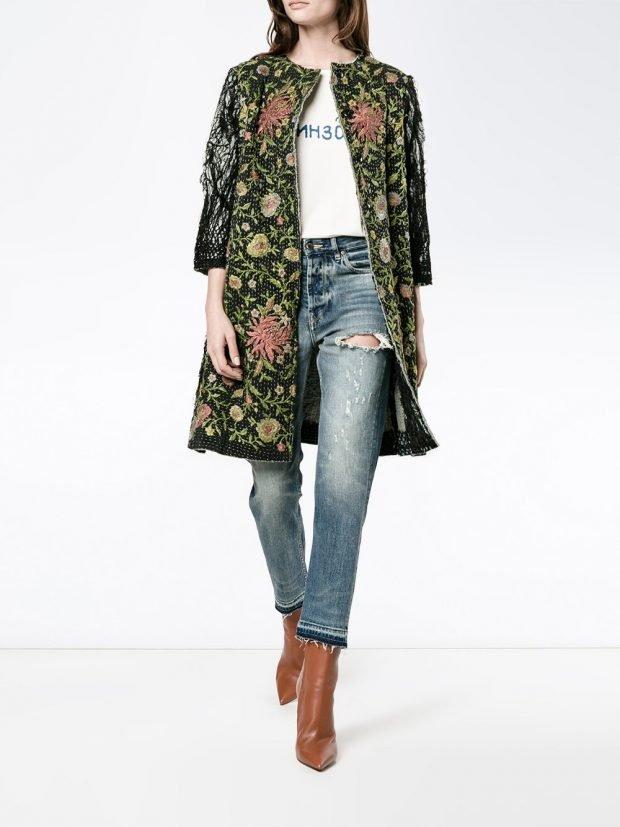 весеннее пальто с принтом