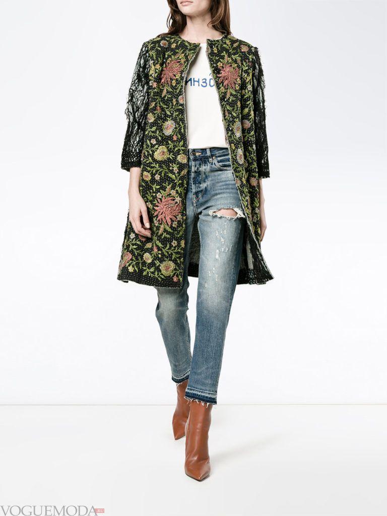 пальто с принтом весна