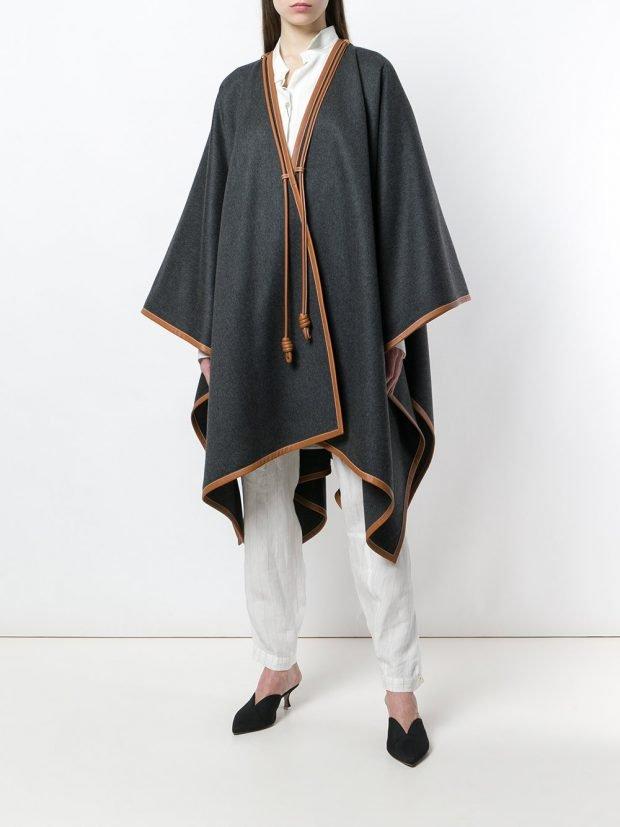 весеннее асимметричное серое пальто