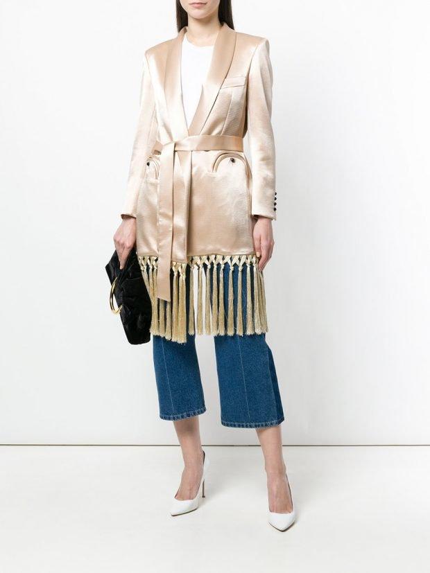 весеннее шелковое пальто с бахромой