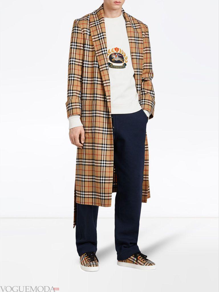мужское пальто весна в клетку
