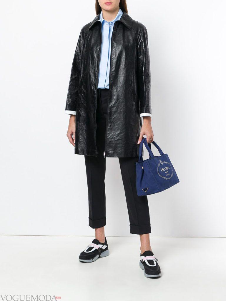 кожаное черное пальто весна