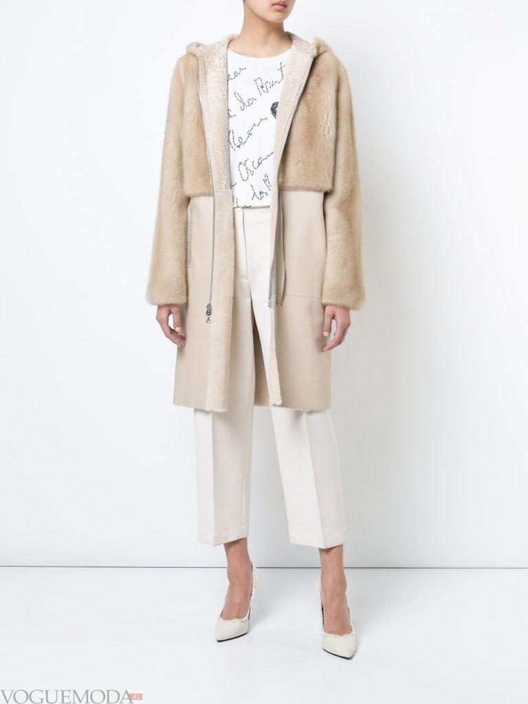 бежевое пальто с мехом весна