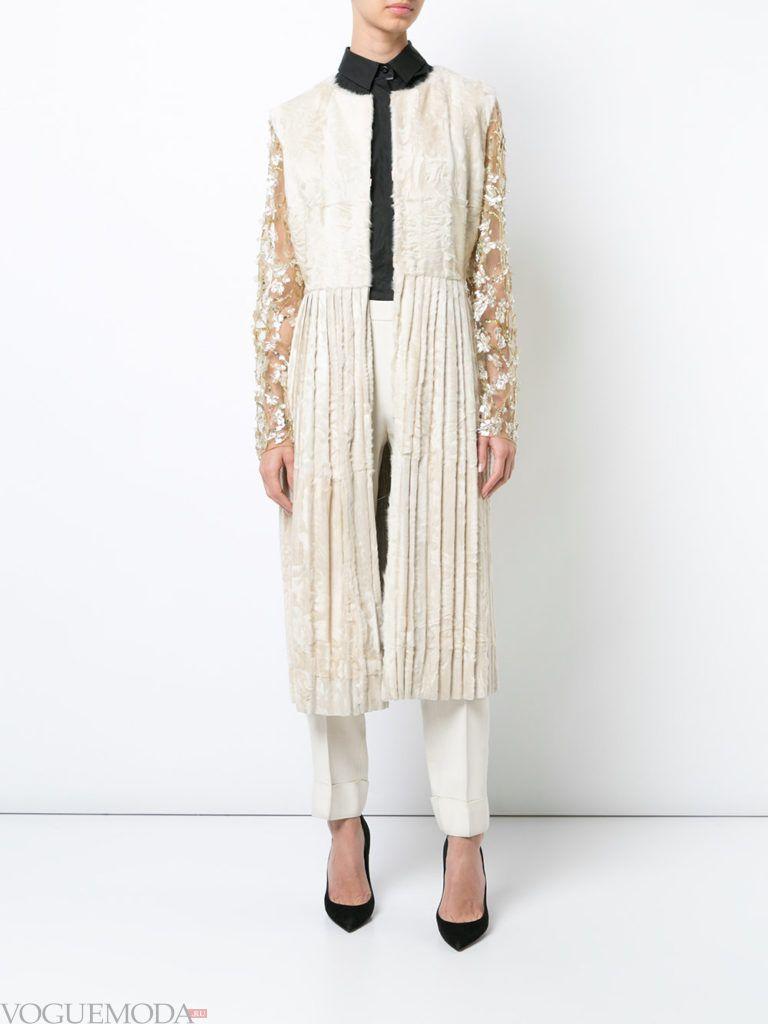 комбинированное пальто плиссе весна