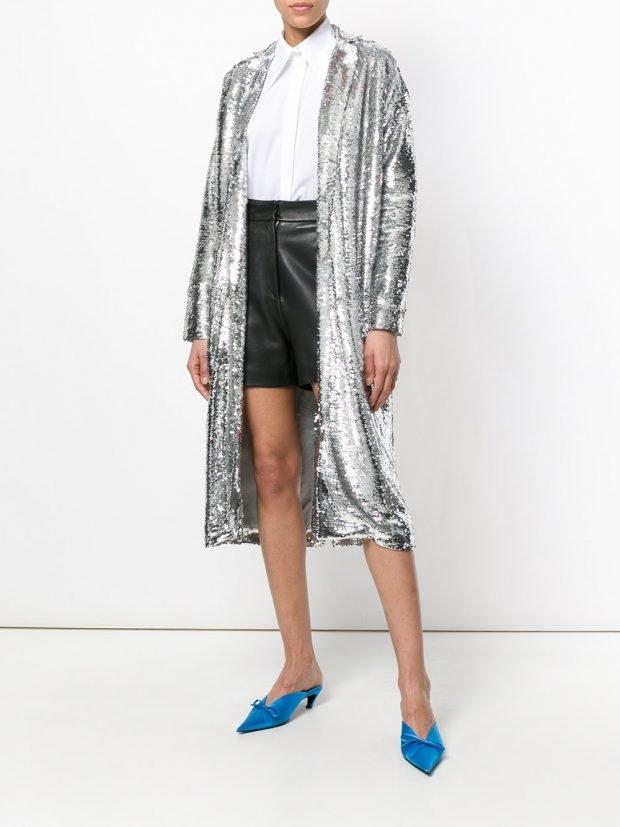 блестящее весеннее пальто металлик