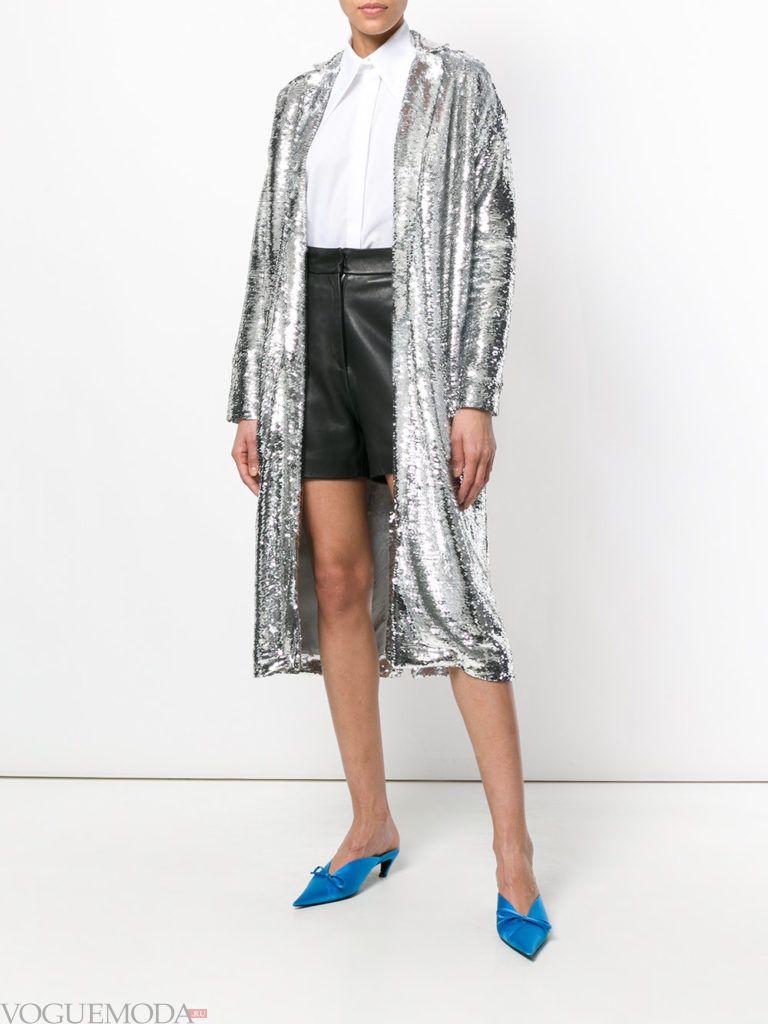 блестящее пальто металлик весна