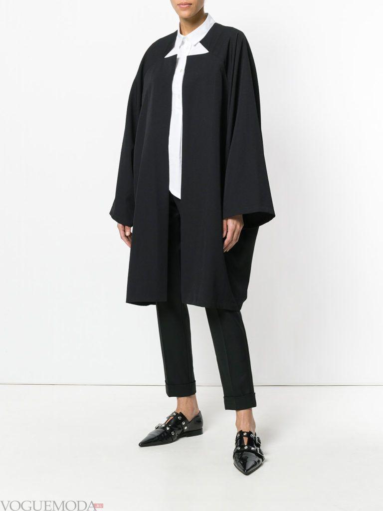 черное пальто кейп весна