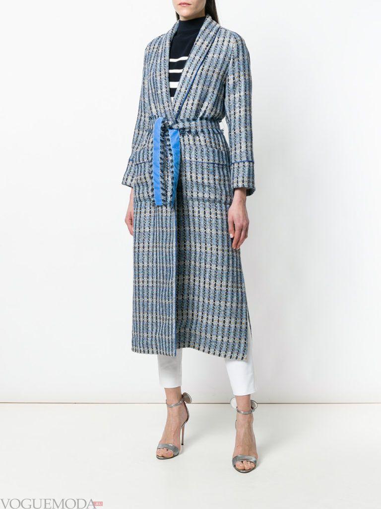пальто миди с принтом и поясом весна