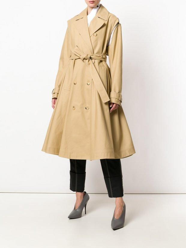 пальто клеш с поясом