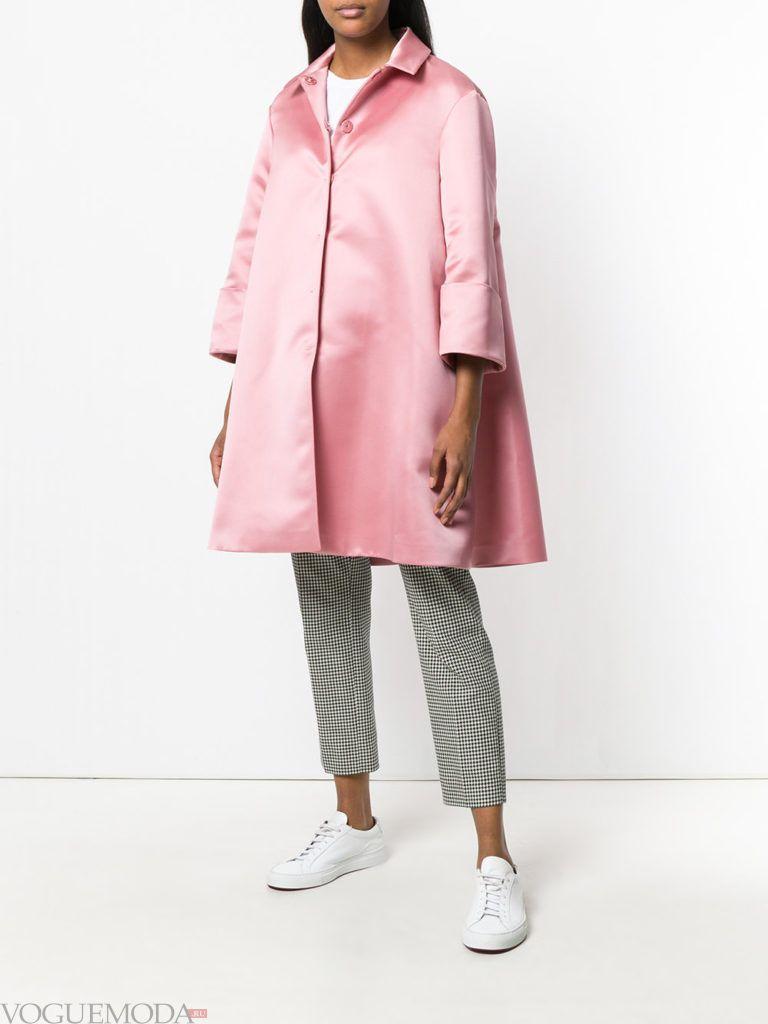 розовое свободное пальто весна
