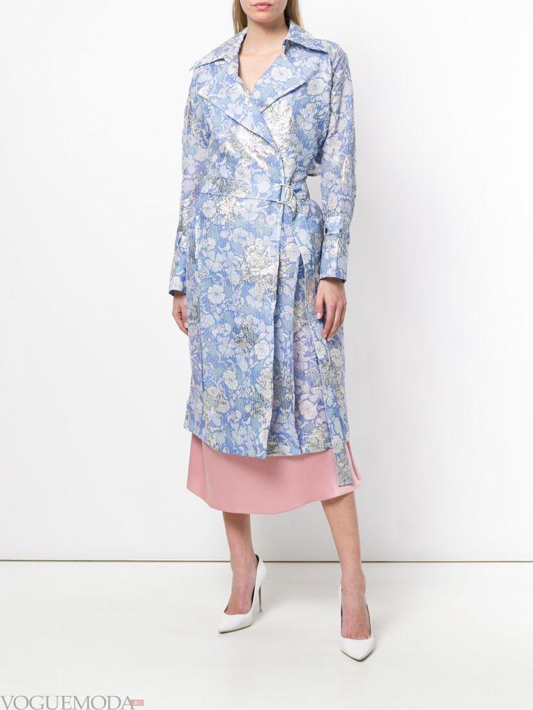 двубортное пальто с принтом весна